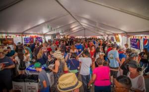 People in salsa tasting tent