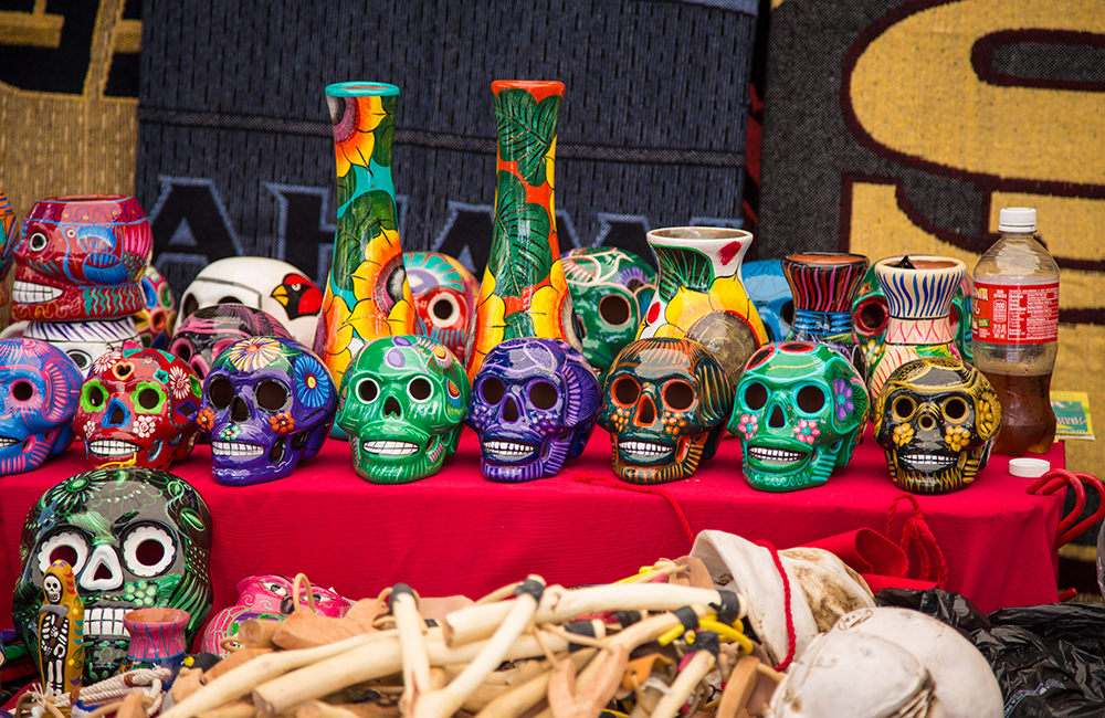 Sugar skulls at vendor booth