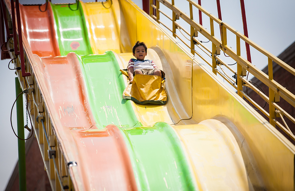 Kids slide in kids zone